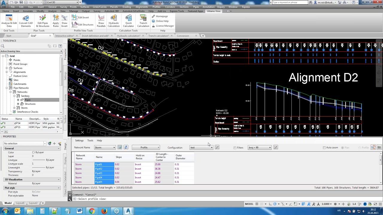 Pipe network design with Urbano Visio and AutoCAD Civil 3D