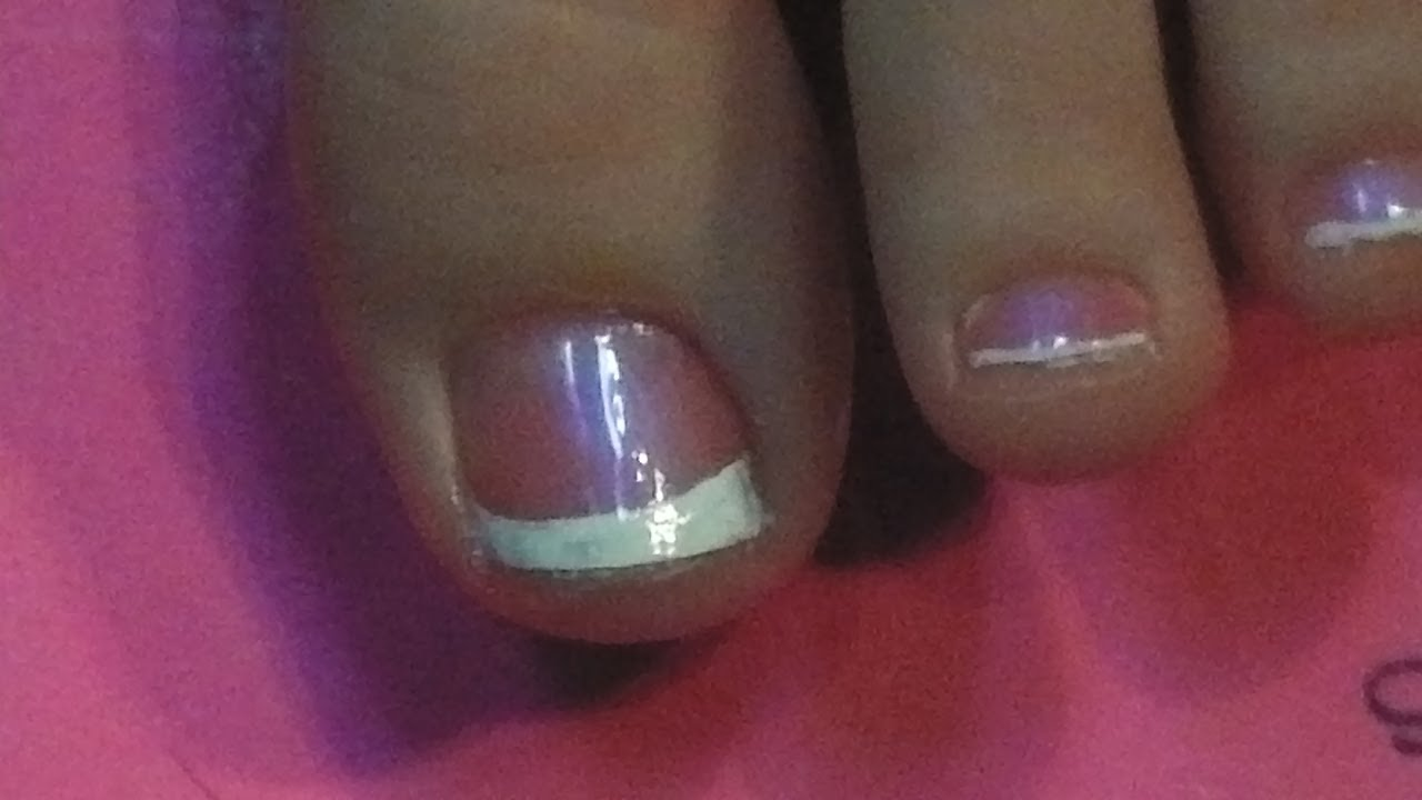 Classic French Tip (REQUEST) Toe Nail Art Tutorial - YouTube