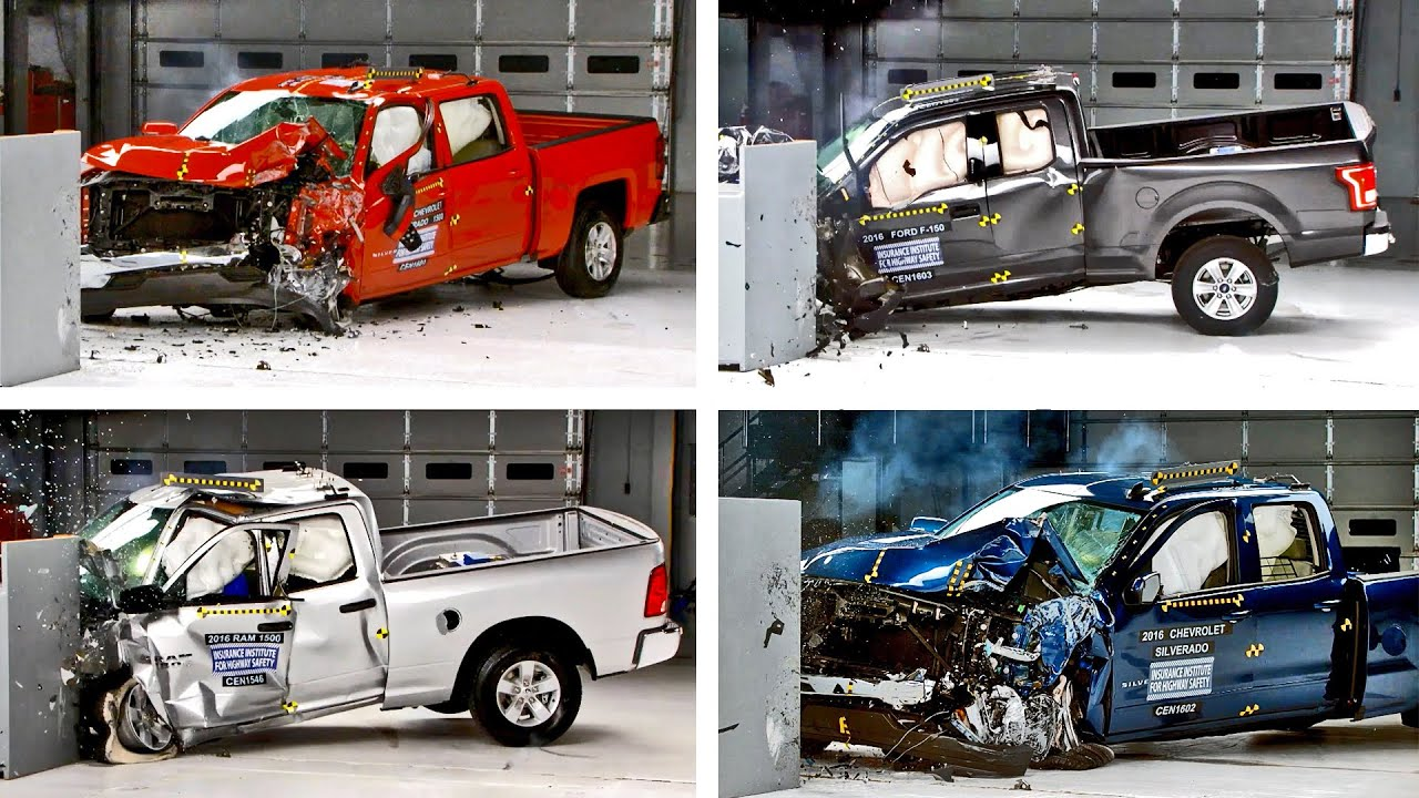 Crash Tests 2016 Pickup Truck F 150 Silverado Tundra Ram