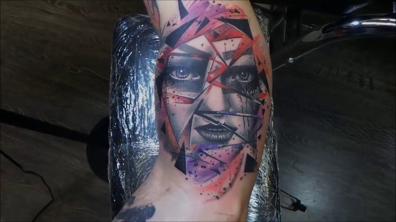 Teo Tattoo Abstract Woman Face Full Color Youtube