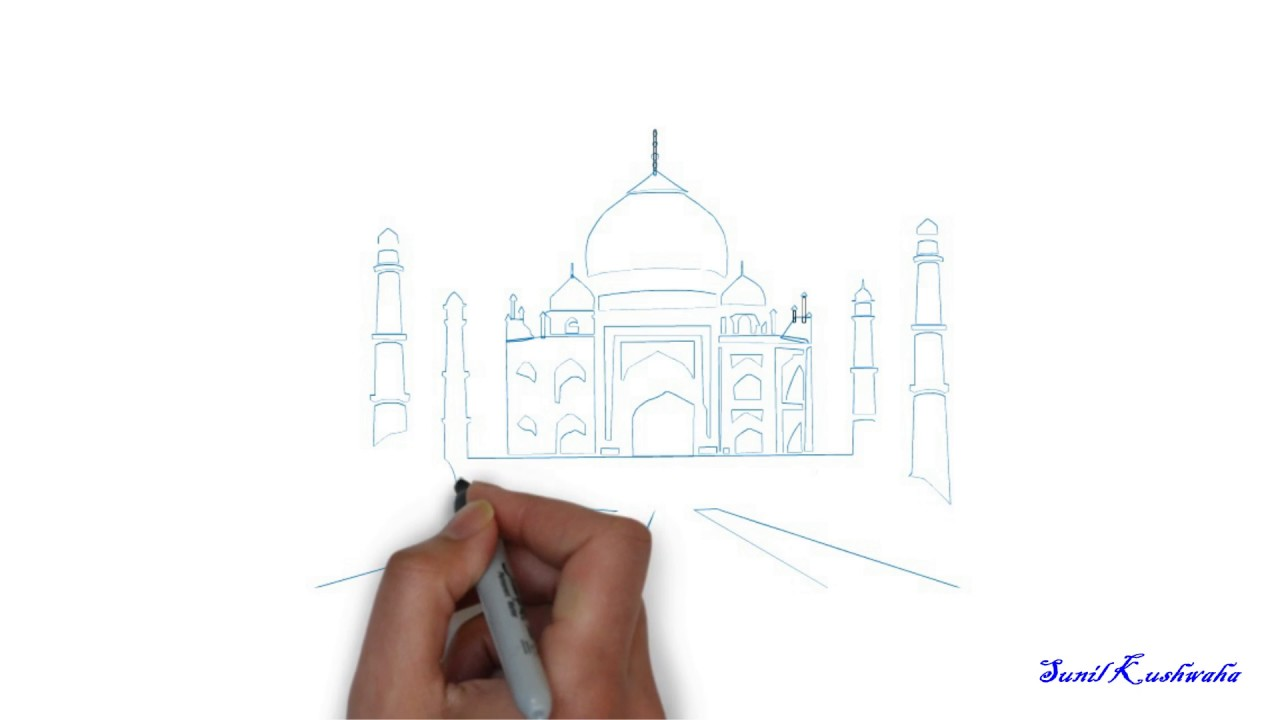 learn how to draw taj mahal very easy step by step for kids