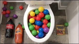 Will it Flush? - Coca Cola, Fanta, Mirinda Balloons, Gummy Bears and Plastic Balls