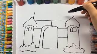 Learn to Draw and Coloring for Kids and Paint Castle | Coloring Book Page to Color with Watercolor