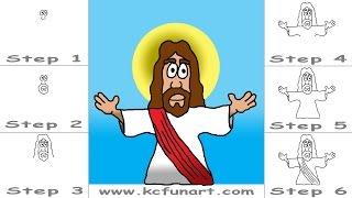 jesus cartoon drawing draw step drawings paintingvalley getdrawings