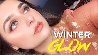 GLOWY WINTER MAKEUP LOOK FOR BEGINNERS using DRUGSTORE products.
