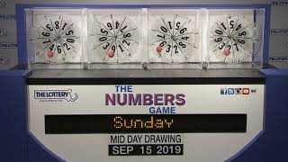Midday Numbers Game Drawing: Sunday, September 15, 2019