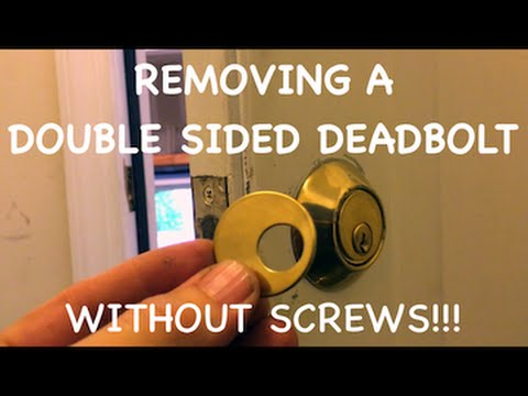 Removing a double keyed deadbolt without screws  YouTube