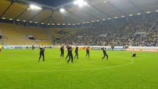 Auftritt beim Spiel Alemannia Aachen VS Borussia Dortmund Frontview