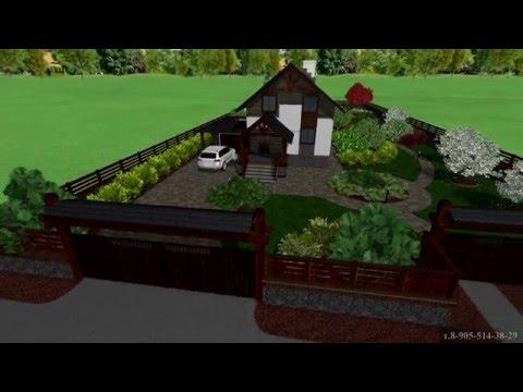 Ландшафтный дизайн дачного участка вытянутой формы. 20 сот. 3D визуализация