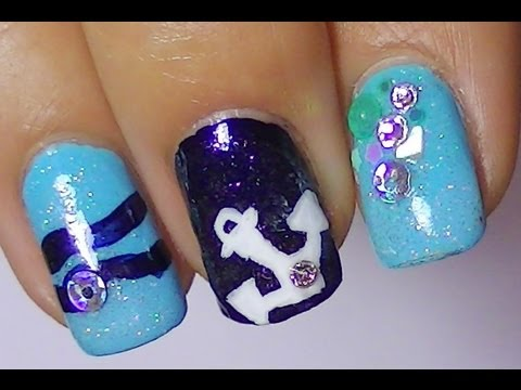 Cute anchor nail designblue colors and rhinestones youtube cute anchor nail designblue colors and rhinestones prinsesfo Gallery