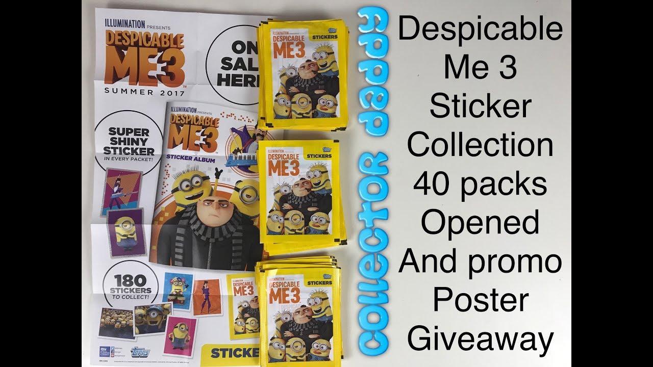 Topps Despicable Me 3 Sticker collection starter set album Verzamelingen 50 Stickers