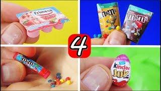 Diy 4 Miniaturas de Comidinhas e Doces para Barbie Super Fácil de Fazer   Iogurte, Kinder Ovo, MMs
