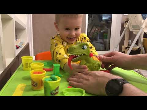 Набор пластилина Play Doh с Динозавром T-Rex и Вулканом.