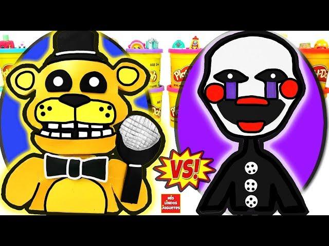 Huevos Sorpresa Gigantes de Five Nights at Freddys Golden Freddy VS Puppet de Plastilina en Español