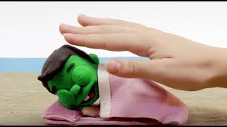 Sleeping baby superhero 💕 Play Doh Stop motion cartoons