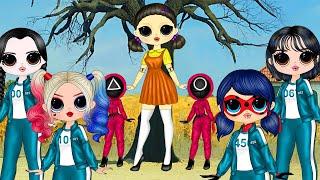 Ladybug In Squid Game With Harley Quinn Wednesday Addams \u0026 Sae-byeok - D Y Paper Dolls \u0026 Crafts