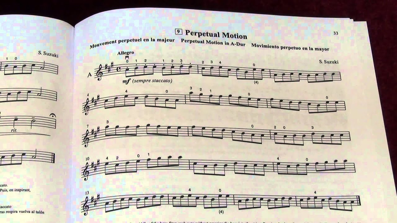 perpetual motion suzuki violin book 1 music sheet and play