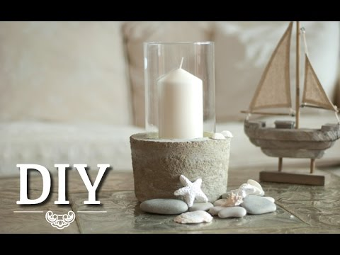 diy coole deko vase windlicht aus glas und beton selber machen deko kitchen youtube. Black Bedroom Furniture Sets. Home Design Ideas