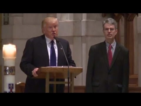 Trump speaks at Phyllis Schlafly's funeral