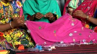 Zari embroidery being stitched by women from Rajasthan