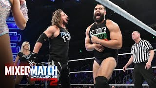 Charlotte Flair and AJ Styles engage in a major chop-off with Rusev and Lana