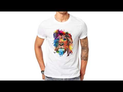100% Cotton Colorful Lion Design Men T Shirts Short Sleeve Casual Animal Printed T-Shirt Cool Tee
