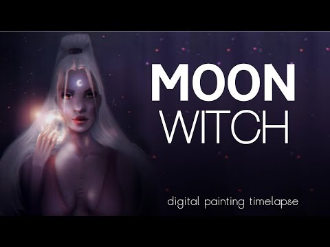 Moon Witch | Halloween Digital Painting Timelapse