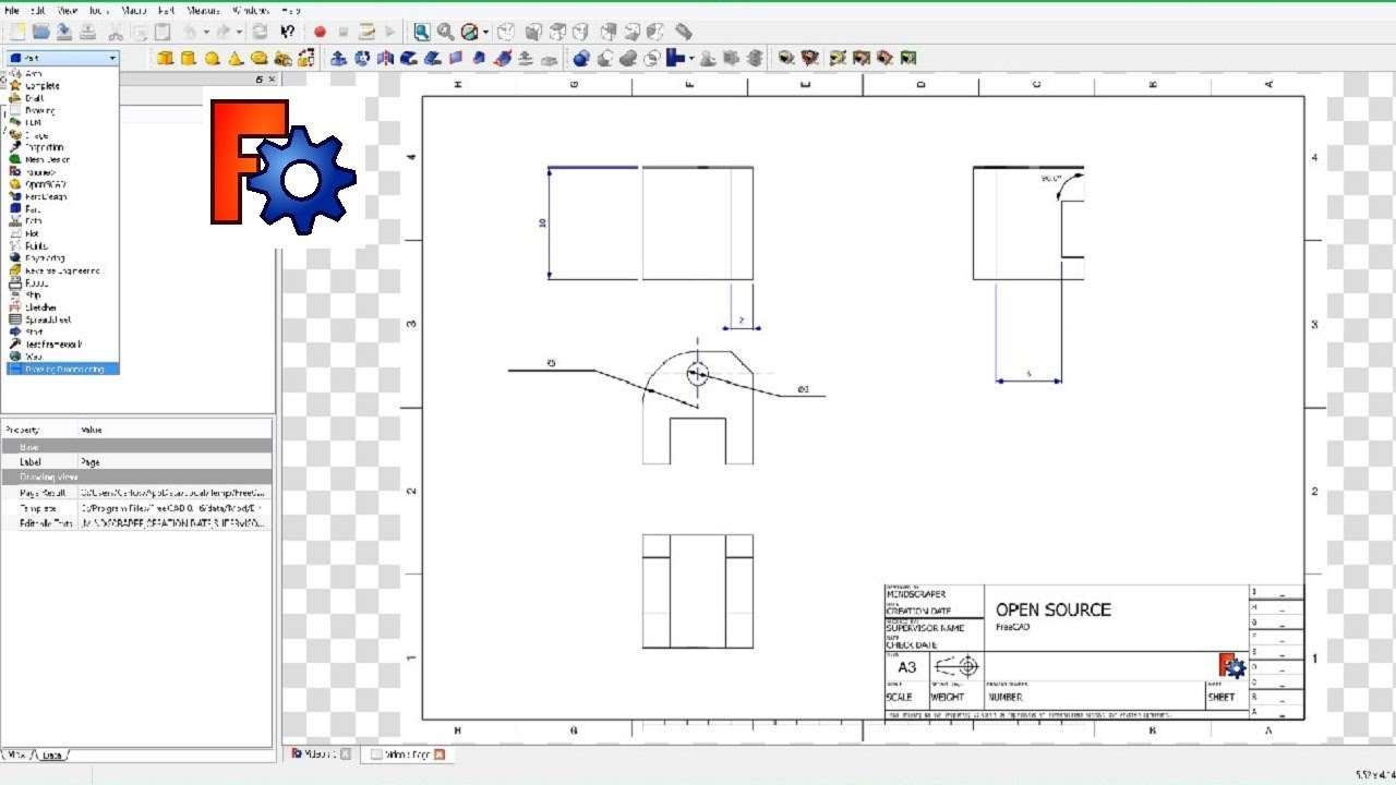 Freecad 2d drawing dimension workbench doovi Simple 2d cad