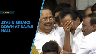 Stalin breaks down after HC allows Karunanidhi's memorial at Marina Beach