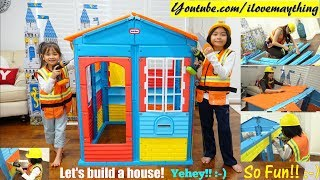Family Toy Channel: Kids' Carpenter Pretend Playtime Fun! Little Tikes Playhouse Unboxing