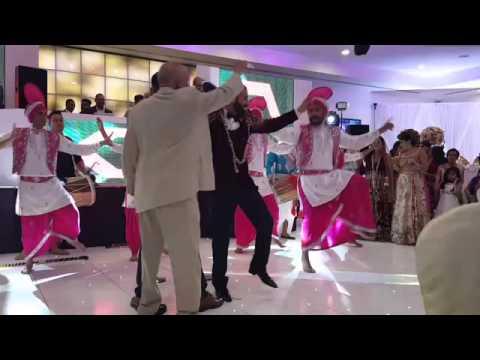 groom surprise bhangra dance at wedding reception youtube