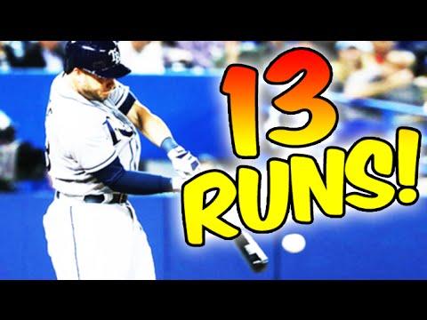 Tampa Bay Rays score 13 runs vs Blue Jays