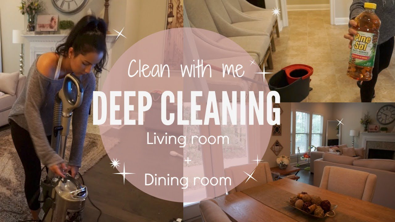 CLEAN WITH ME 2017// Deep Cleaning// Living room and Dining room ...