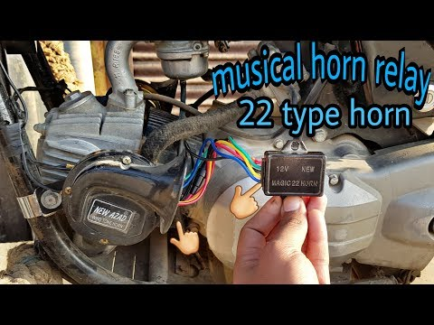 musical horn with 22 type tune | how to install music horn relay in bike -  youtube