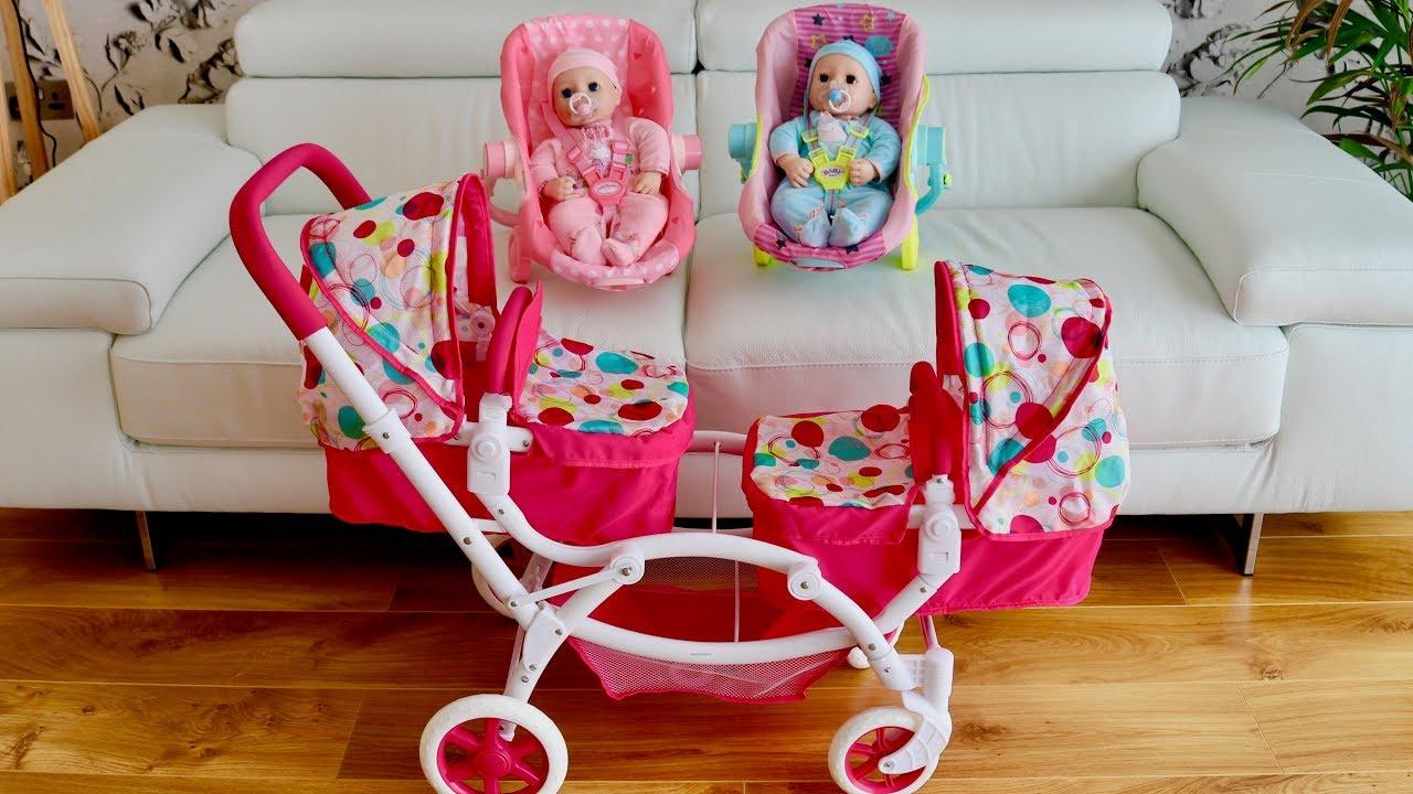 Baby Born Baby Annabell Dolls Pram Stroller Twin Jogger