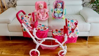 Baby Born Baby Annabell Dolls Pram Stroller Twin Jogger Nursery Toys Baby Dolls Go for Walks
