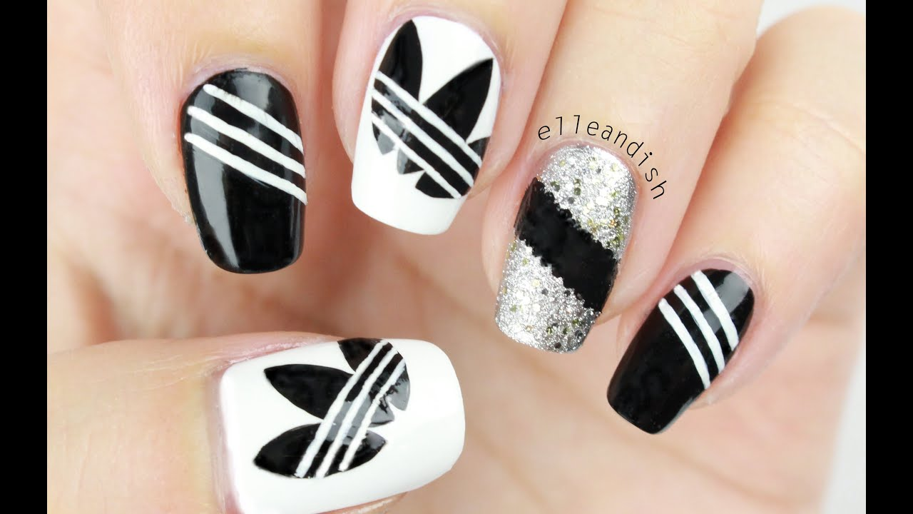 ☆ ADIDAS NAILS (Freehand) ☆ - YouTube