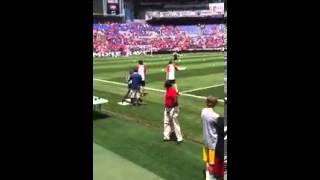 LFC vs Tottenham[Gerrard and Carroll walk out]