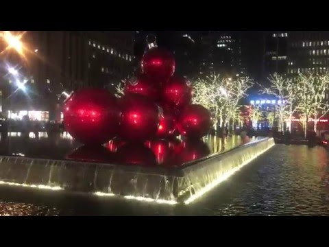 Christmas Lights at Radio City Music Hall & Red Ornament Balls (NYC, 2015)