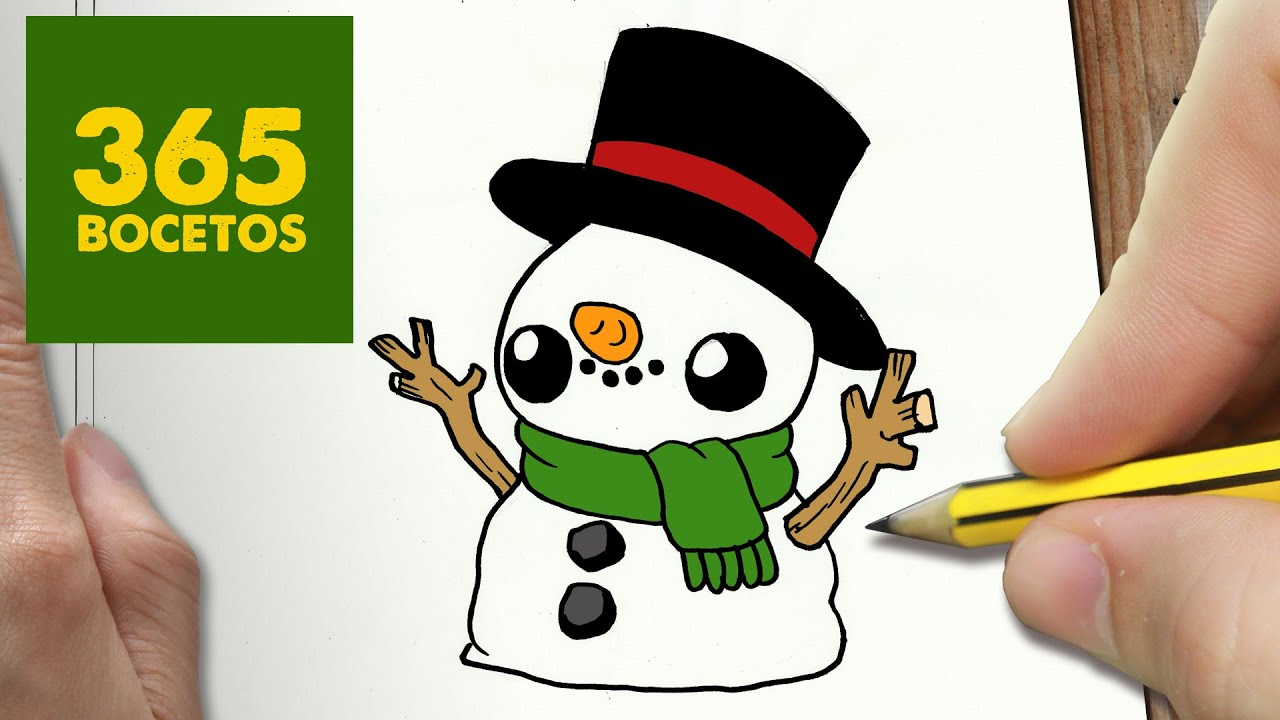 Muñeco De Nieve Dibujo: COMO DIBUJAR MUÑECO DE NIEVE KAWAII PASO A PASO