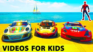 colors spiderman cartoon for kids muscle cars with children nursery rhymes songs movie