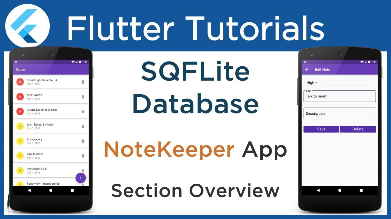 #4 1 Flutter SQFLite Database Tutorial: Implement SQLite database with  example: Section Overview