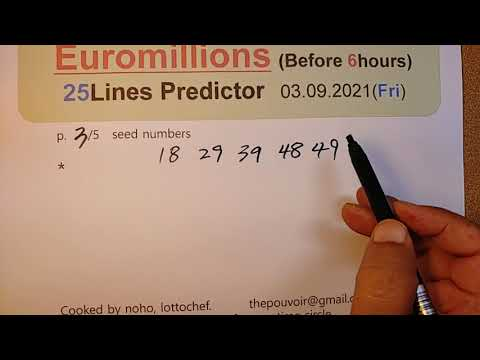 Download Euromillion 3 septembre 2021 predicteur Euromillions 03.09.2021. 25 lines predictor.