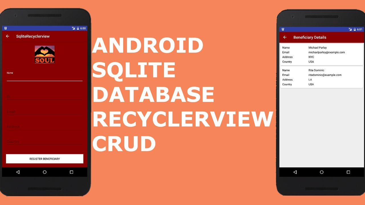 ANDROID SQLITE DATABASE RECYCLERVIEW CRUD(Create, Read, Update and Delete)