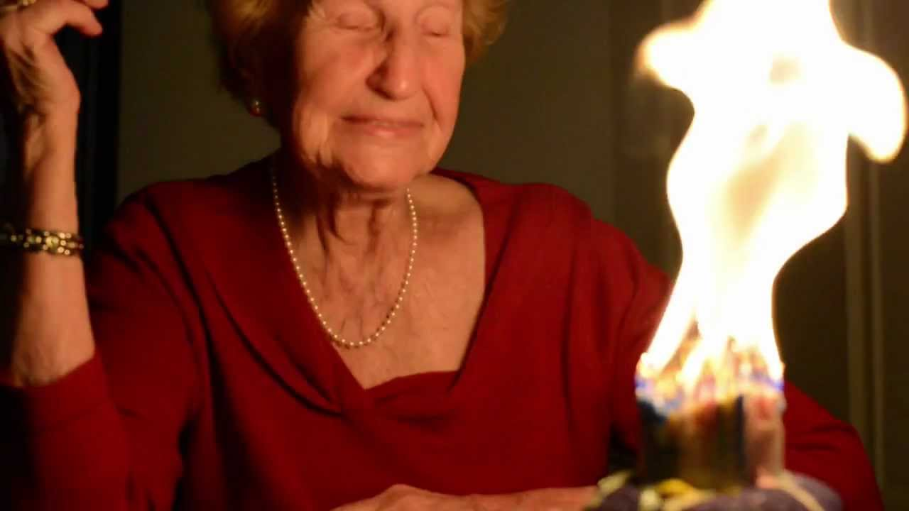 Grandma tries to blow out 90 birthday candles YouTube