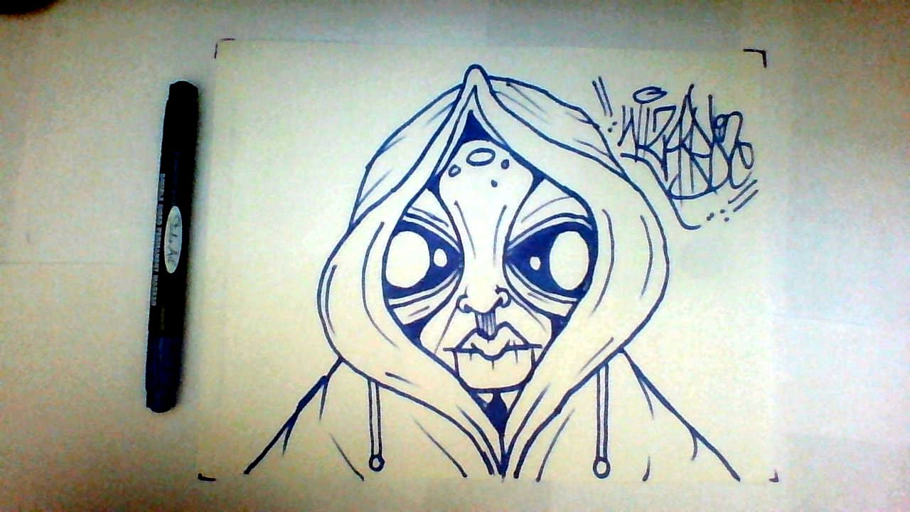 How To Draw Graffiti Character Alien Drawing Como Dibujar Un Marciano