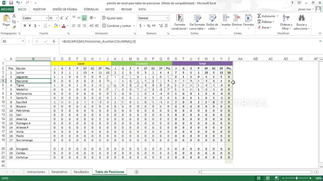 Tutorial de plantillas de Excel para campeonatos o torneos