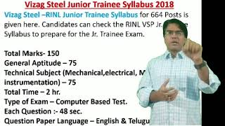 VIZAG STEEL - RINL JUNIOR TRAINEES SYLLABUS  FOR MECHANICAL//ELECTRICAL//METALLURGY//INSTRUMENTATION