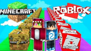 DESAFIO DE LOS LUCKY BLOCKS DE MINECRAFT VS ROBLOX 😂 CARRERA LUCKY BLOCK