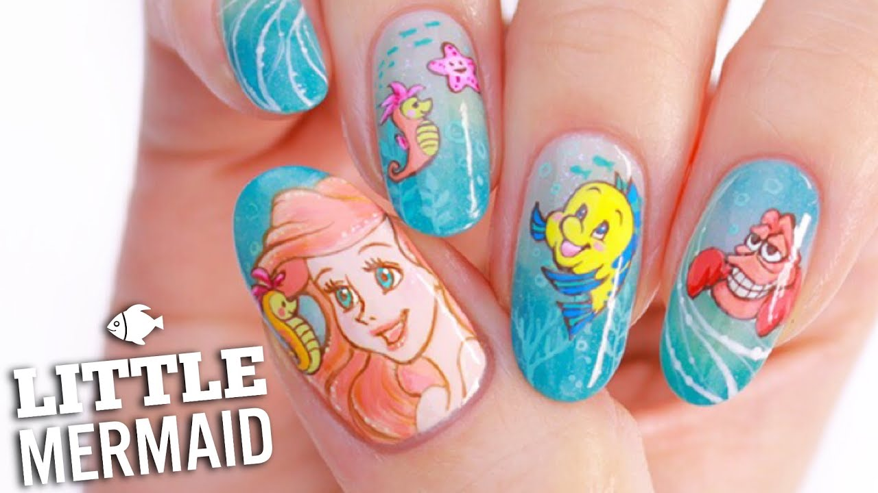 Disney39s Little Mermaid Nail Art Tutorial Youtube
